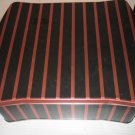 TIN CAN stripe STORAGE CONTAINER JEWELRY scrapbooking sewing knitting BLACK RED GIFT WRAP BOX