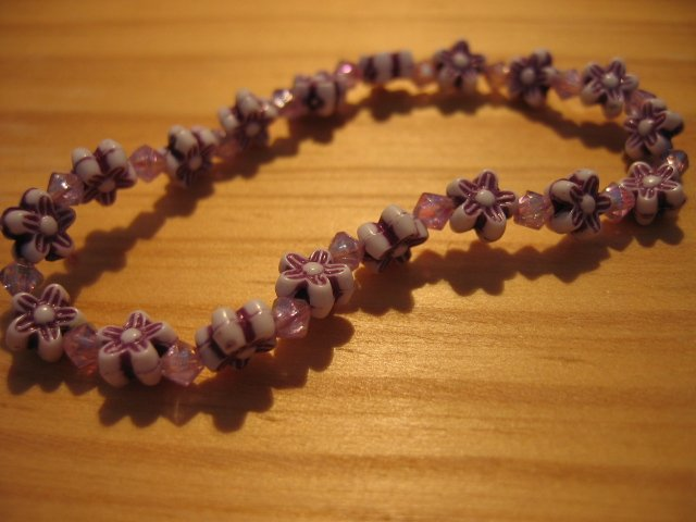 PURPLE FLOWER BEADED AMETHYST BRACELET KID'S GIRL'S WOMEN'S ACCESSORIES JEWELRY