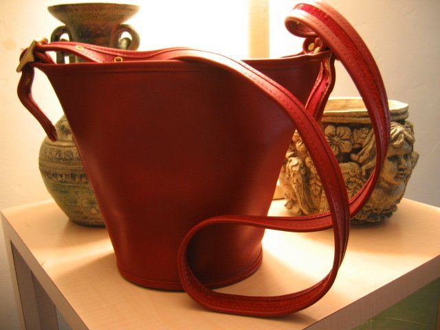 SOLD - AUTHENTIC gorgeous hot RED BUCKET leather COACH - BEAUTIFUL - WOMEN'S BAG HANDBAG PURSE #3