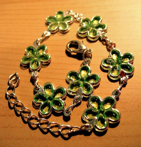 emerald green flower JEWELRY CHARM BRACELET beads PARTY FAVOR watches WOMEN'S ACCESSORY