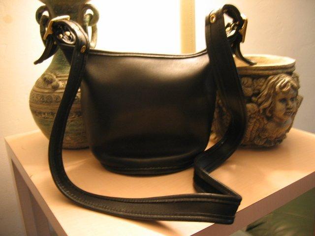 AUTHENTIC BLACK leather COACH BUCKET WOMEN'S HANDBAG BAG PURSE #8