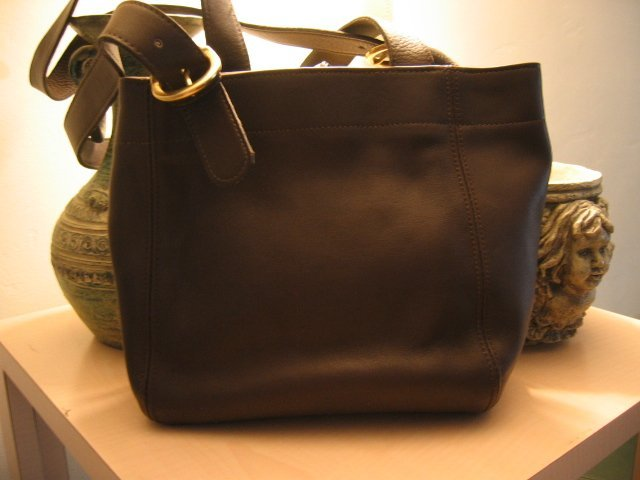 AUTHENTIC dark BROWN leather book OFFICE TOTE COACH hamptons WOMEN'S BAG HANDBAG PURSE #100409A