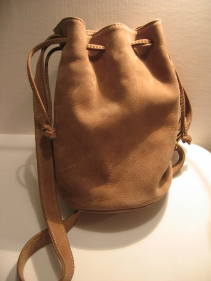 AUTHENTIC COACH SUEDE BUCKET DRAWSTRING BAG WOMEN'S HANDBAG PURSE LEATHER tote tan brown vintage