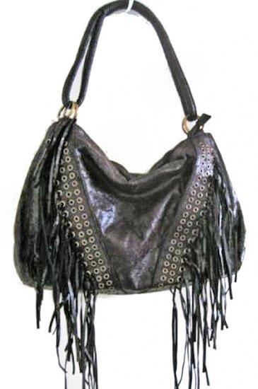 NEW INDIAN FRINGE HOBO LARGE suede faux leather like BIKER WOMEN'S BAG HANDBAG PURSE SOHO tassle