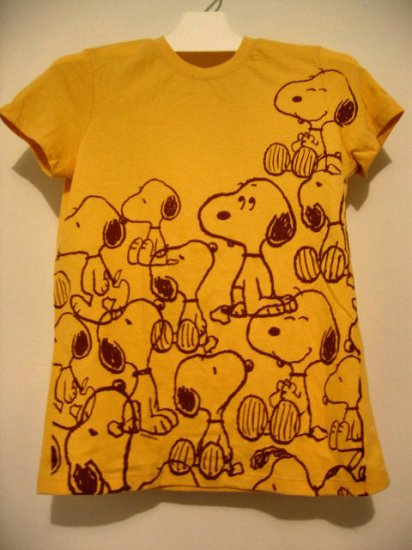 SOLD OUT - CUTE YELLOW SNOOPY WOODSTOCK SHIRT TOP T-SHIRT WOMEN'S CLOTHES sz L