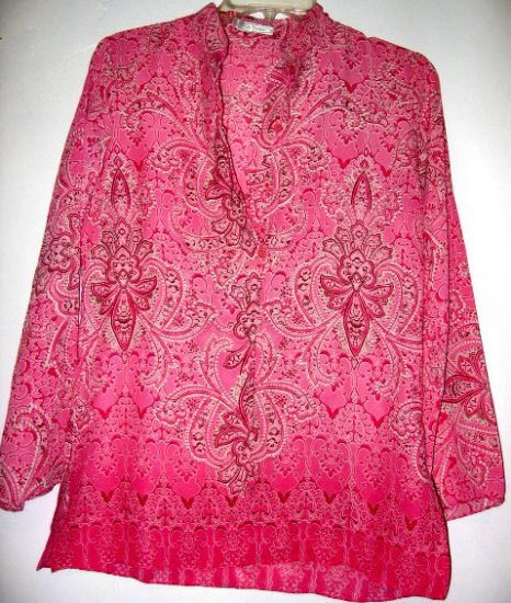 SOLD - ST. YVES sz M paisley PINK TOP SHIRT T-SHIRT BUTTON WOMEN'S CLOTHES SHEER OFFICE