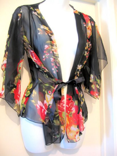 sold SHEER BLACK FLORAL KIMONO TOP SHIRT T-SHIRT WOMEN'S CLOTHES sexy sex lingerie flirty