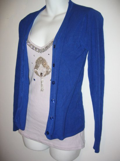 SOLD - royal blue cardigan sweater women's clothes stretchy comfy