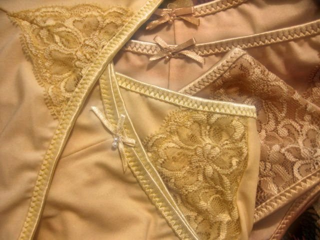 LOT OF 2 nude lace satin underwear panty stretch women's clothes lingerie