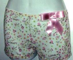 sz L mesh pink bow floral boy short underwear panties women's lingerie