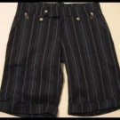 NAVY BLUE BLACK PINSTRIPE CAPRI CAPRIS SHORTS PANTS WOMEN'S CLOTHES JUNIORS sz S