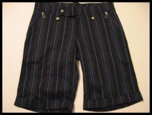 NAVY BLUE BLACK PINSTRIPE CAPRI CAPRIS SHORTS PANTS WOMEN'S CLOTHES JUNIORS sz S