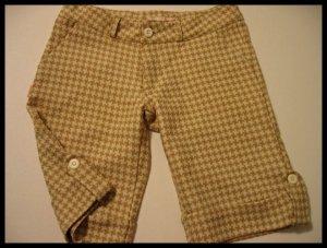 tosca CHECKERED CAPRI CAPRIS PANTS SHORTS CREME TAN WOMEN'S CLOTHES JUNIORS TWILL sz S