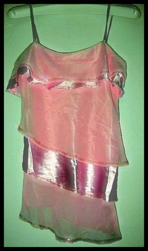 NEW TIER TANKTOP TOP shirt PASTEL PINK SOFT SHIMMERY GLITTER SEQUIN WOMEN'S