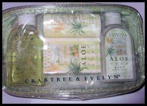NEW ALOE VERA GEL LOTION SOAP TALC POWDER bath body GREAT BRITAIN - MINI TRAVEL KIT