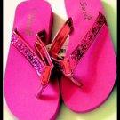SALE - HOT PINK new SUMMER BEACH SWIMMING glitter SANDALS FLIP FLOPS WOMEN'S KID'S GIRL'S SZ 7