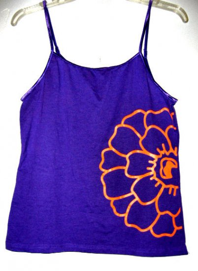 PURPLE orange flower CAMISOLE TANK TOP WOMEN'S T-SHIRT STRETCH BEAUTIFUL SZ L