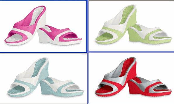 NEW AUTHENTIC CROCS SASSARI pink green aqua red SANDALS sz 7 women's shoes LOT 4 PAIRS