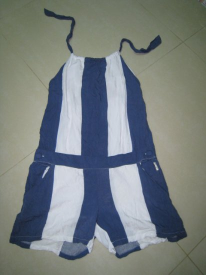 new top shorts JUMPSUIT HALTER BLUE WHITE STRIPE JUNIOR'S CLOTHES SMALL