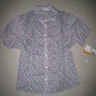 SALE floral short sleeve top linen button up shirt cotton women's clothes large country MELROSE