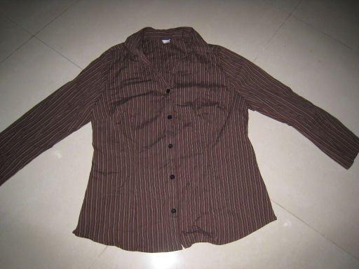 SALE brown pinstriped button up office dress shirt stretch women's clothes sz L