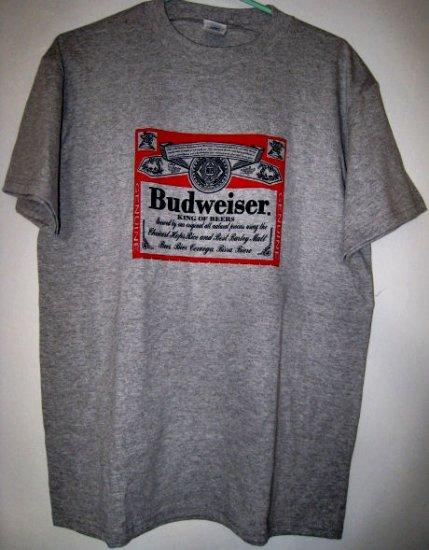new BUDWEISER sports gray t-shirt shirt top women's men's sz M clothing red gift NFL football