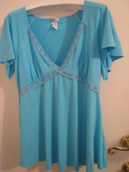 NEW LACE PLUS 2X TOP SHIRT PRETTY AQUA WOMEN'S STRETCH DRESS SEXY CLOTHING CLOTHES