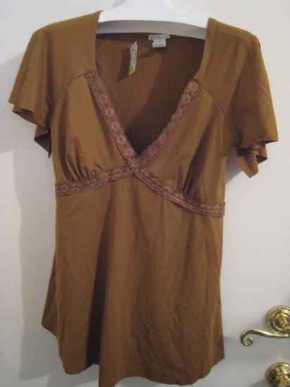 NEW LACE PLUS 1X 2X TOP SHIRT PRETTY brown WOMEN'S STRETCH DRESS SEXY CLOTHING CLOTHES