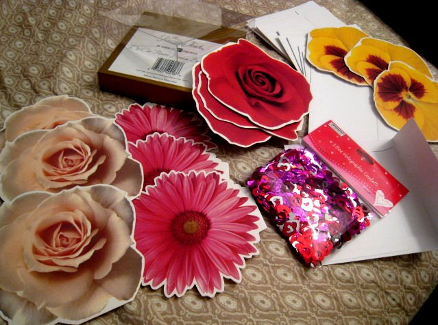 blank FLOWER CARD CARDS GIFT FLOWERS HOME GARDEN + FREE CONFETTI scrapbooking
