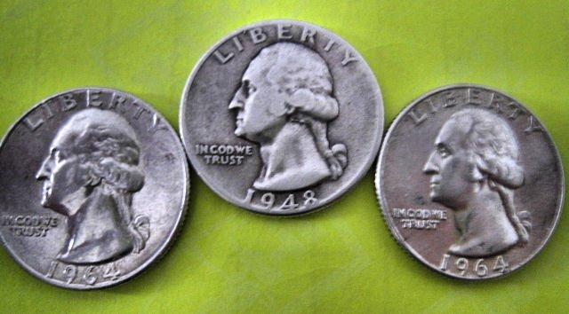 SILVER U.S. COIN MONEY COLLECTION QUARTER HOBBY HOME GARDEN QUARTERS 1964 1948