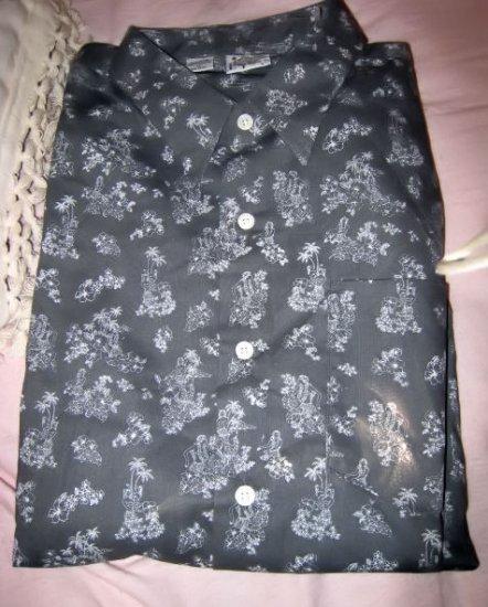 button up collar dress MEN'S GRAY SHIRT XL HAWAII HULA GIRL COCONUT TREE FLOWER NICE