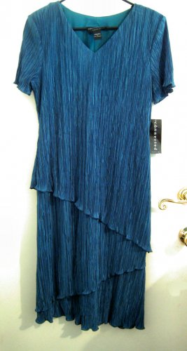 teal turquoise blue dress sz 14 women's clothes party christmas cocktail drape clothing