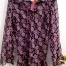 M WOMEN'S DRESS SHEER SHIRT BUTTON COLLAR FLOWER FLORAL VICTORIAN PRINT WOMEN'S CLOTHING