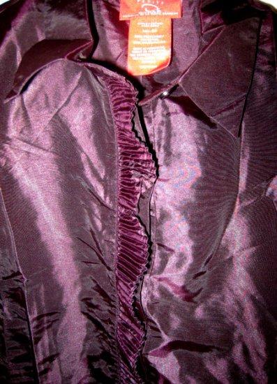 PETITE OSCAR DE LA RENTA DRESS SHIRT WOMEN'S 6P CLOTHES PURPLE CLOTHING SHINY CHIC SO PRETTY