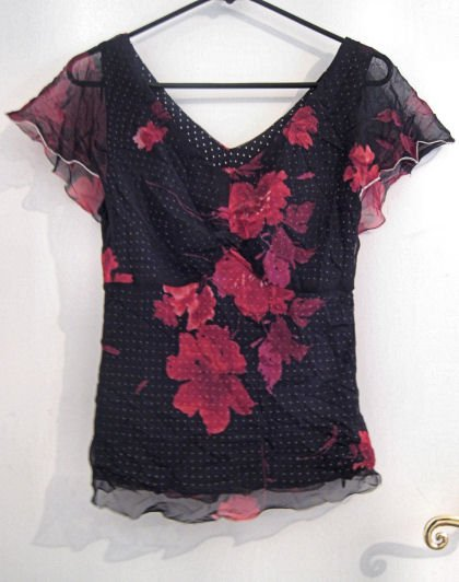 BLACK RED SHEER TOP WOMEN'S CLOTHES CLOTHING SZ S SMALL
