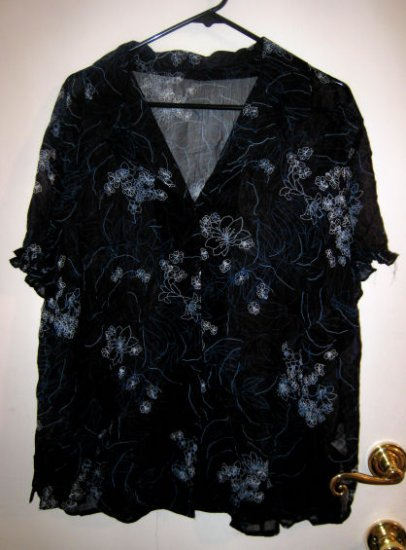 NAVY BLUE SHEER TOP X-LARGE XL WOMEN'S DRESS TOP EASTER SPRING FLOWER FLORAL