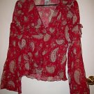 ROSE RED WOMEN'S TOP L PAISLEY SHEER FLOWER FLORAL CLOTHES CLOTHING CUTE