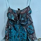 turquoise multi-patter print tube strapless top WOMEN'S S OR M CLOTHES DRESS PARTY CLUB