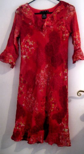 GIRL'S DRESS SZ 16 RED FLORAL FLOWER CLOTHES RUFFLED SLEEVE NECK