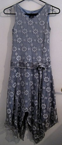 SILVER GIRL'S DRESS SZ 10 FISHNET FABRIC SUNFLOWER PATTERN CLOTHES CLOTHING