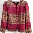 PAISLEY COAT SUIT TOP WOMEN'S CLOTHES jacket shirt CLOTHING RED BUTTON L@@K SO STUNNING