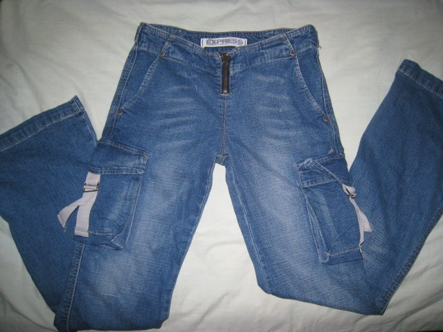 EXPRESS JEANS JUNIOR'S SZ 4 SEXY CARGO WOMEN'S PANTS DENIM CLOTHES CLOTHING MUST SEE!! L@@K