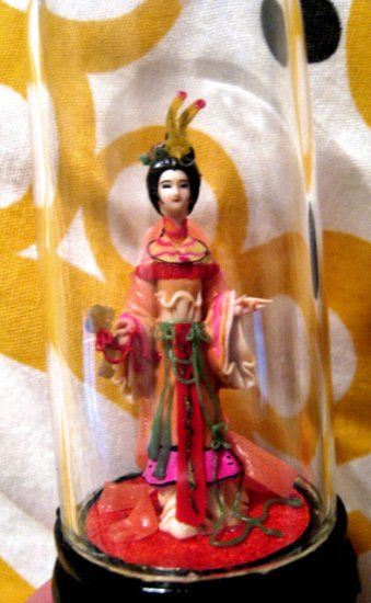 """GLASS CASE woman handmade 2.5"""" doll collectible figurine home decor art china asia"""