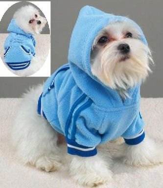 small dog sweater clothes blue top shirt t-shirt coat hooded pullover fleece clothing