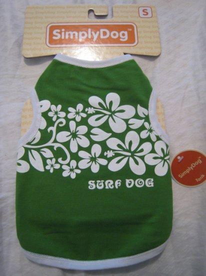 small surf dog t-shirt cotton stretch clothing shirt pet animal tank green hawaii home pets