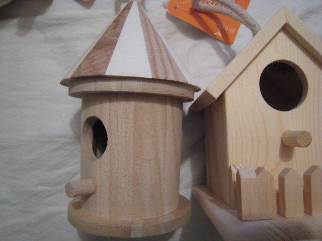castle NATURAL WOOD WOODEN BIRDHOUSE BIRD HOUSE GARDEN HOME DECOR HOBBY #2