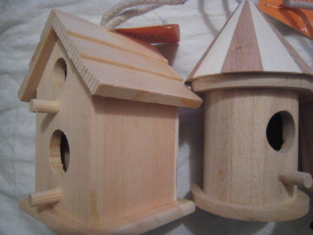 2-door NATURAL WOOD WOODEN BIRDHOUSE BIRD HOUSE GARDEN HOME DECOR HOBBY #1