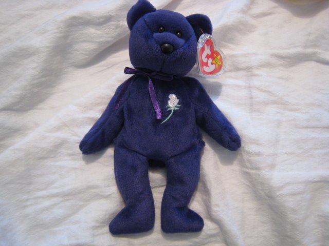 #6 PURPLE PRINCESS DIANA bear BEANIE BABY DOLL STUFF ANIMAL TOY KIDS CHILDREN HOME GIFT BIRTHDAY