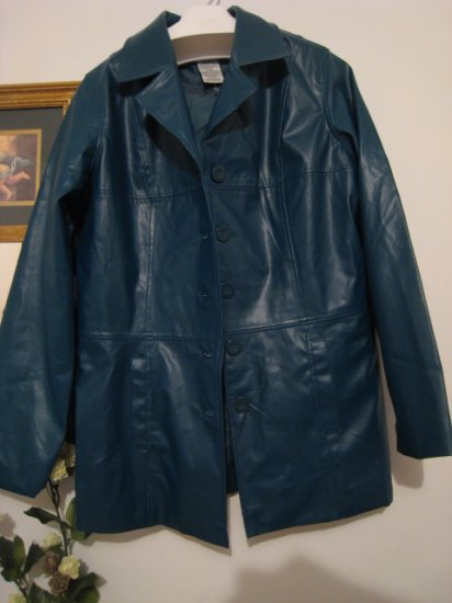 SMALL S WOMEN'S LEATHER FAUX CLOTHES CLOTHING JACKET BLAZER TURQUOISE blue green