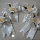 set of 4 RIBBONS BOWS GIFT ART CRAFT WHITE ROSE PIN BROOCH DECORATION wedding